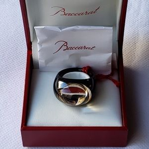 Baccarat Crystal Tango Black and Gold Mordore Ring